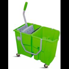 ReadySystem dvigubas mini valymo vežimėlis-kibirėlis iš polipropileno ant ratukų su įmontuotu nugręžėju