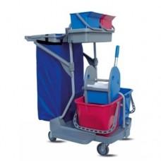 ReadySystem valymo vežimėlis iš polipropileno su 2 kibirais po 15 l, su 2 kibirėliais po 6 l, su nugręžėju ir laikikliu šiukšlių maišui