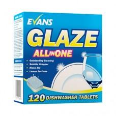 EVANS indų plovimo tabletės GLAZE All in One 120 vnt dėžutėje