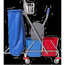 Vežimėlis su dviem kibirėliais 2x18 l, nugręžėju, krepšeliu, laikikliu šiukšlių maišui