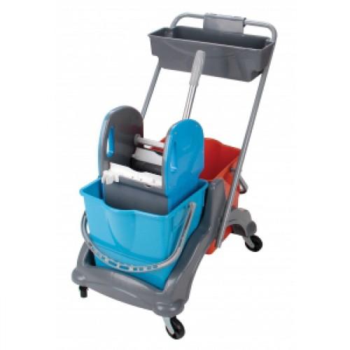 Vežimėlis dviejų 25 l kibirų, su nugręžtuvu ir plastikiniu loveliu chemijos priemonėms susidėti (rėmas iš plastiko)