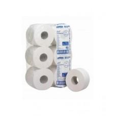 Mini Jumbo tualetinis popierius rulonais, baltas, 2 sl., rulone 526 servetėlės, 200 m. Pakuotėje 12 vnt rulonų