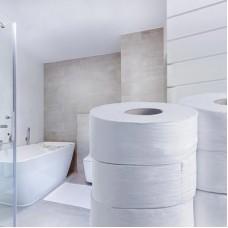 Midi Jumbo tualetinis popierius rulonais, baltas, 1 sl., 525 m. Pakuotėje 6 vnt rulonų