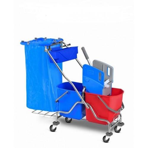 HUNT Metalinis valymo vežimėlis su 2 kibirais po 25 l su nugręžėju ir krepšeliu chemijai