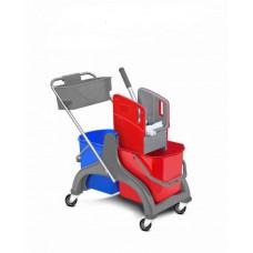 HUNT plastikinis valymo vežimėlis su 2 kibirais po 25 l, su nugręžėju ir lentynėle chemijos priemonėms susidėti