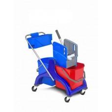 HUNT Plastikinis valymo vežimėlis su 2 kibirais po 25 l su mėlynu nugręžėju ir krepšeliu chemijai