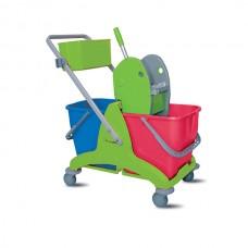 ReadySystem valymo vežimėlis iš polipropileno su 2 kibirais po 15 l, su nugręžėju ir lentynėle chemijos priemonėms susidėti