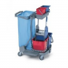 Ready system cart. Wringer, two plastic 15 l buckets, two 6 l buckets and a 120 l waste bag holder.